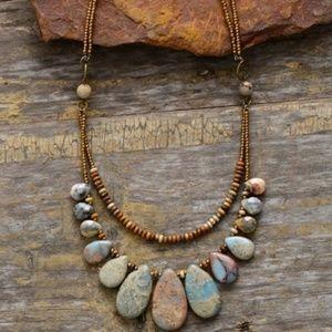 Necklace Teardrop Picture Jasper double strand